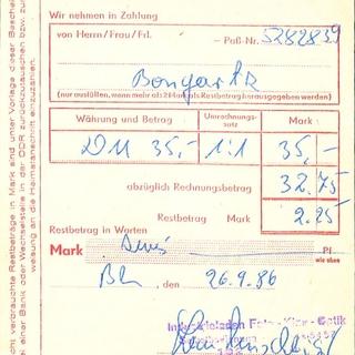 Annahmebescheinigung für fremde Währungen: Umtauschbescheinigung: 26.9.1986