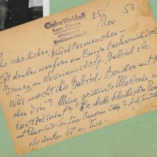 Postkarte von Claire Waldoff an den Koch Walter Gabriel 1953