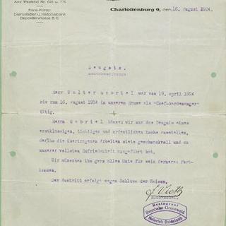 Arbeitszeugnis Rennbahn Grunewald 1924