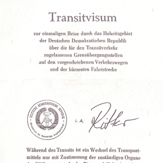 Transitvisum für die DDR