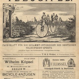 Das Velociped. Titelblatt der Ausgabe vom 1. März 1883.