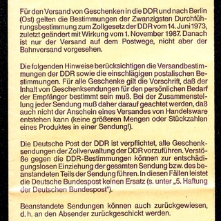Hinweise für Geschenksendungen in die DDR und nach Berlin (Ost). Ausgabe: November 1987