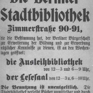 Eröffnungsplakat der Berliner Stadtbibliothek vom November 1907