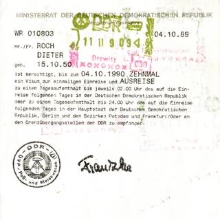 Mehrfachberechtigungsschein für Visa für Tagesaufenthalte in Ostberlin und den Bezirken Potsdam und Frankfurt/Oder.