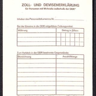 Zoll- und Devisenerklärung für Personen mit Wohnsitz außerhalb der DDR