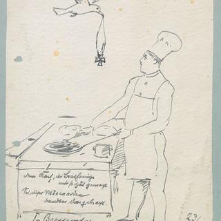 Zeichnung von Felix von Bressensdorf für den Koch Walter Gabriel