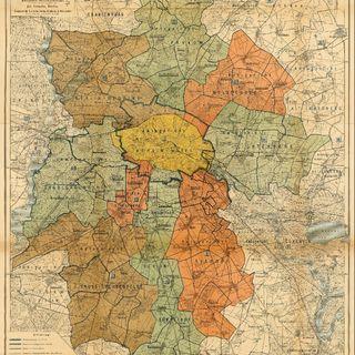 Karte von Berlin und weiterer Umgebung mit der am 1. Juni 1906 in Kraft tretenden Gerichtseinteilung