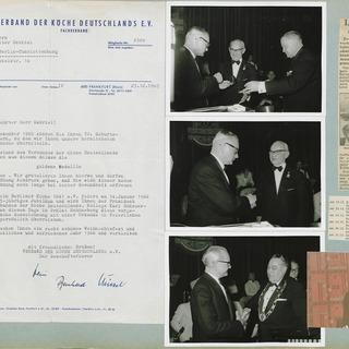 Anschreiben und Fotos zur Verleihung der goldenen Ehrennadel des Verbands Deutscher Köche an Walter Gabriel
