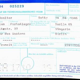 Antrag auf ein tschechoslowakisches Visum