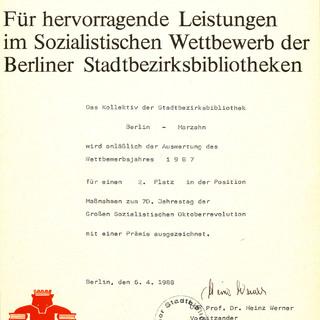 Urkunde für hervorragende Leistungen im sozialistischen Wettbewerb der Berliner Stadtbibliotheken 1987 für einen 2. Platz