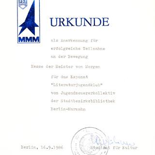 """Urkunde """"Messe der Meister von Morgen"""""""