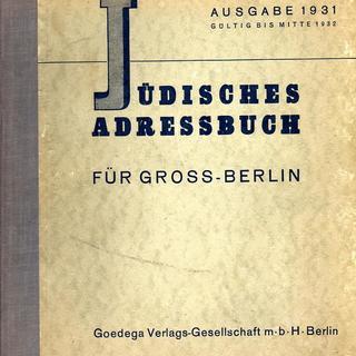 Jüdisches Adressbuch für Gross-Berlin. Ausgabe 1931
