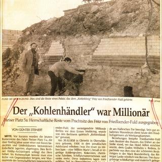 """'Der """"Kohlenhändler"""" war Millionär' (Tagesspiegel vom 21.05.1996)"""
