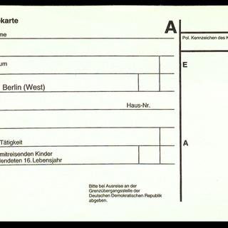 Einreise/Ausreisekarte für die DDR