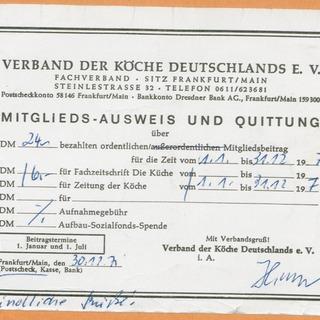 Mitgliedsausweis Verband Deutscher Köche 1972