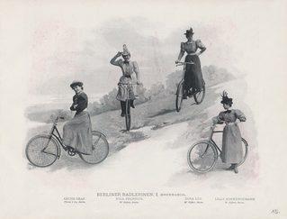 Berliner Fahrradfahrerinnen (aus dem Berliner Leben - Zeitschrift für Schönheit und Kunst)