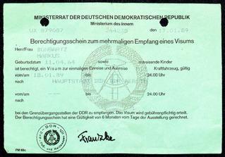 Berechtigungsschein zum mehrmaligen Empfang eines Visums